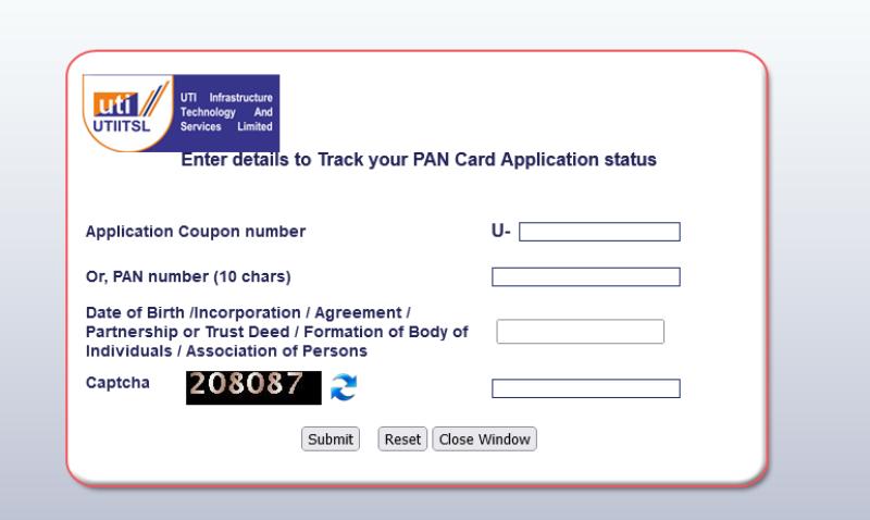 check uti pan card status