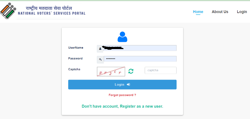 how to make correction in voter id card online login page