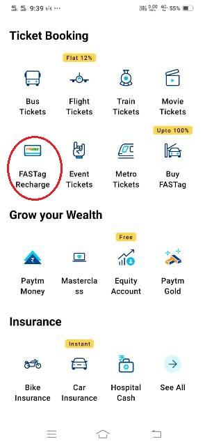 fastag recharge kaise kare by using paytm