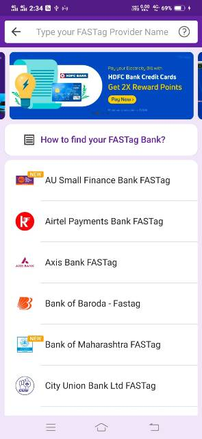 fastag recharge kaise kare select bank