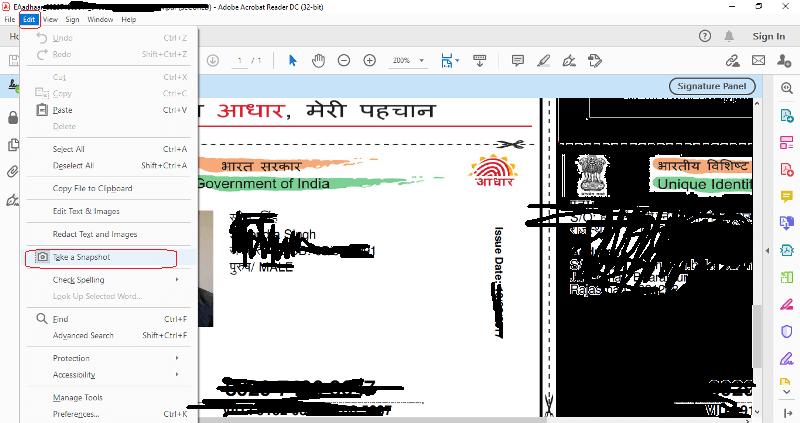 photoshop me aadhar card kaise print kare take snapshot