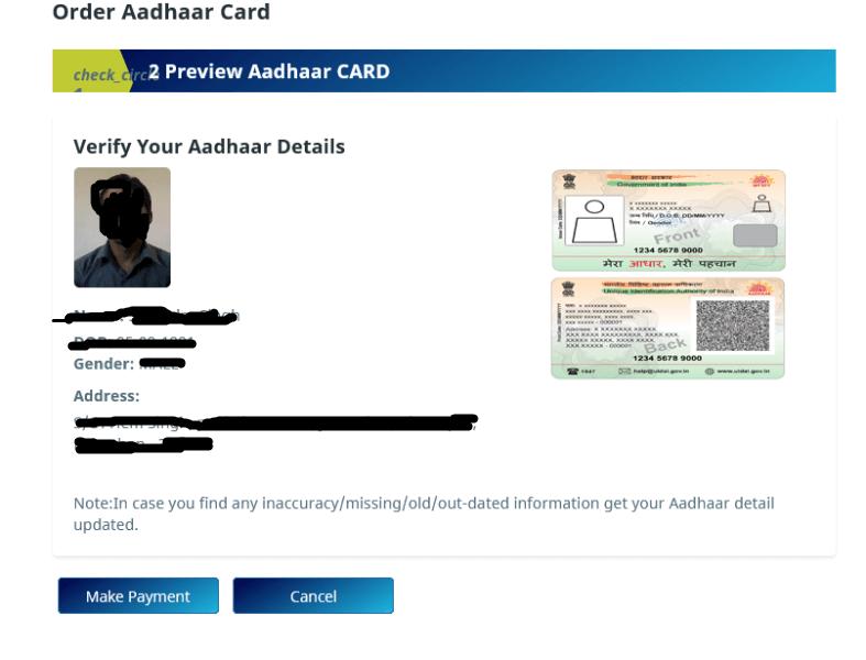 pvc aadhar card online order kaise aadhar detail